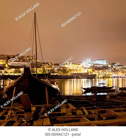 Docked boat and river Douro at night, Porto, Portugal