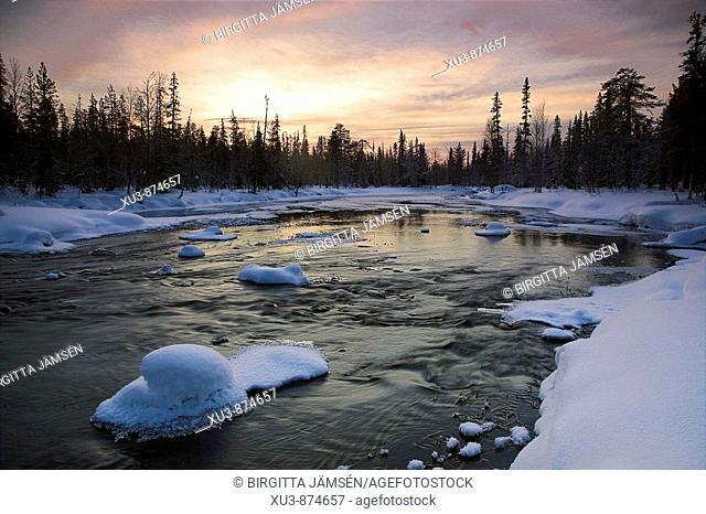 Winter river in Finland