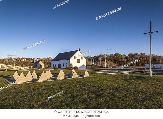 Canada, Quebec, Gaspe Peninsula, Paspebiac, Site Historique Banc-de-Peche de Paspebiac, fisheries museum, elevated view, dawn