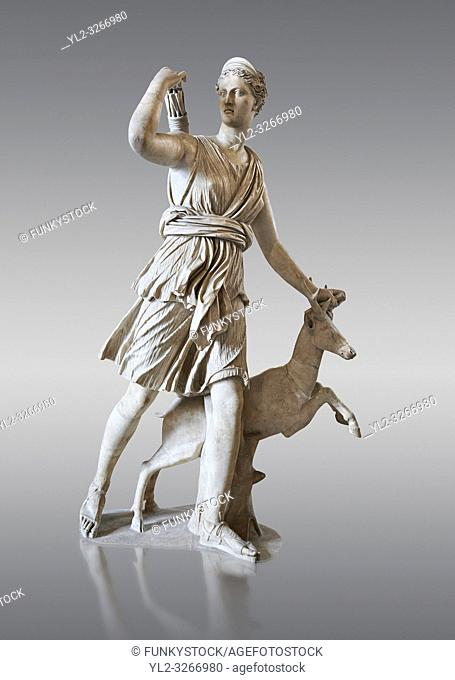 """Artemis and a deer, known as """"""""Diana of Versaillesâ. . , a 1st - 2nd century Roman statue in marble probably from Italy. Artemis, Diana to the Romans"""