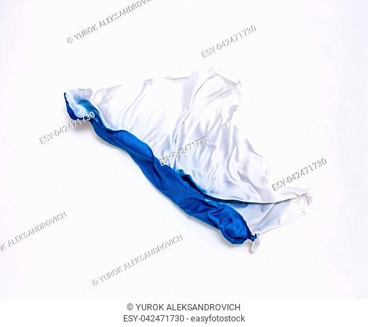 abstract pieces of blue and white fabric flying, design element