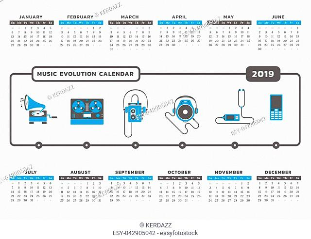 Calendar for year 2019 with music technology icon graphic