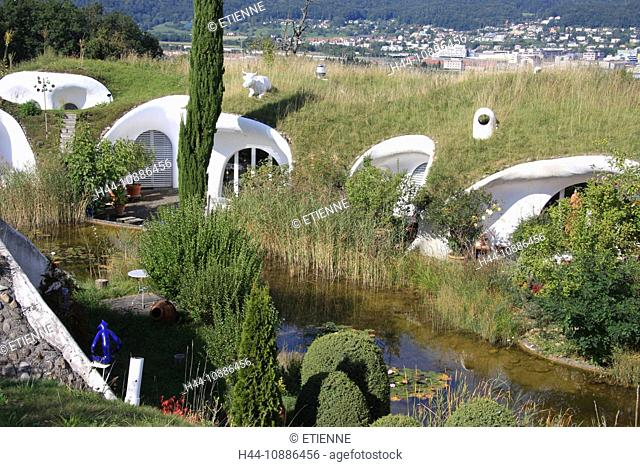 Switzerland, Europe, canton Zurich, Dietikon, house, home, living, settlement, earth house, ecological, pond, biotope, single-family dwelling, hill house