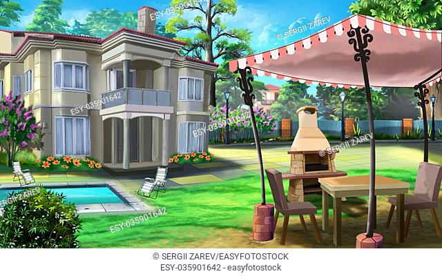 Digital painting of the private villa with alcove, B-B-Q, pool and green fields