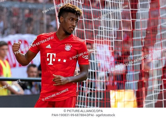 31 August 2019, Bavaria, Munich: Soccer: Bundesliga, Bayern Munich - FSV Mainz 05, Matchday 3 in the Allianz Arena. Kingsley Coman (l) of Munich rejoices over...