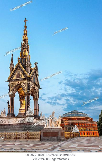 Albert Memorial and Royal Albert Hall,View from Hyde Park,London,England