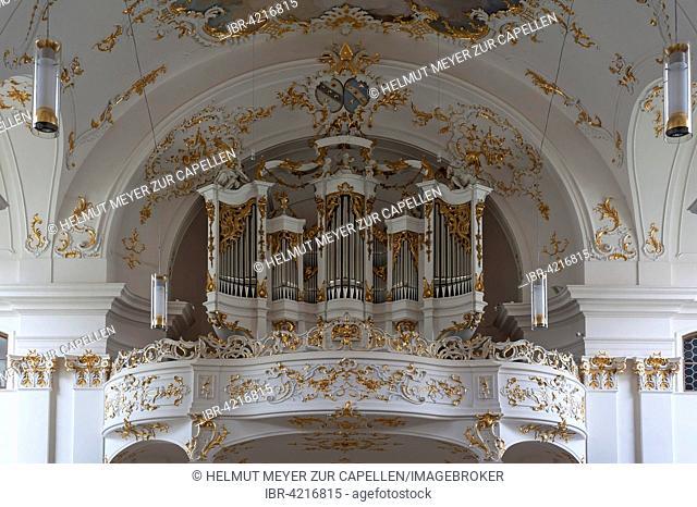 Organ loft in the late Baroque monastery church, Schäftlarn, Upper Bavaria, Germany
