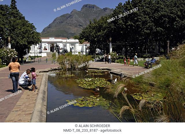 Tourists in a formal garden, National Gallery, Company's Garden, Cape Town, Western Cape Province, South Africa