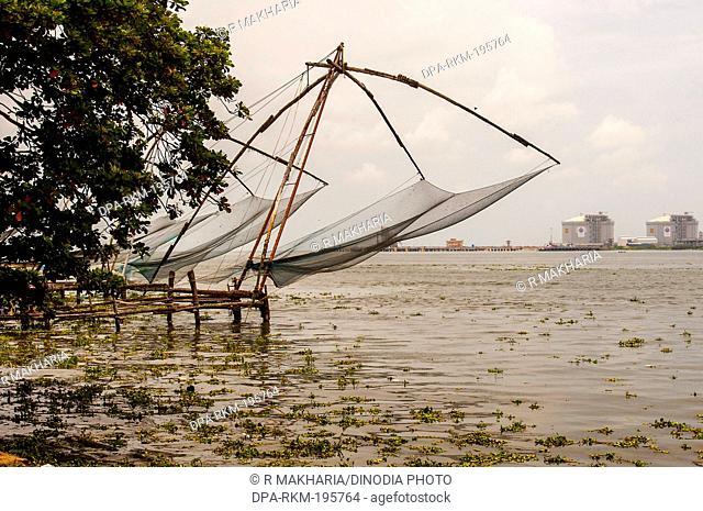 Chinese fishing nets, cochin, kerala, india, asia