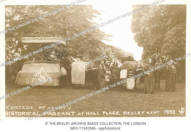 Dartford Division of Kent Historical Pageant which was held at Hall Place, Bexley in July 1932. Cortege of Henry V