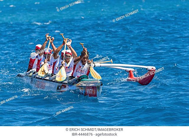 Hawaiki Nui Va'a, World Championship Canoe Race 2016, near Raiatea, Society Islands, French Polynesia, South Pacific, Oceania