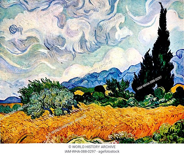 Painting titled 'Wheat Field with Cypresses' by Vincent van Gogh (1853-1890) a Dutch painter and draftsman. Dated 19th Century