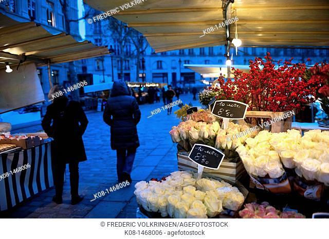 Flower market at night, Paris, France