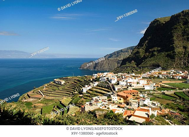 La Gomera, Canary Islands, Spain  Looking east over the town of Agulo toward Tenerife