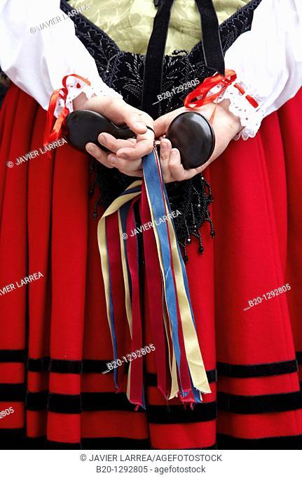 Traditional costumes, Asturian folklore, Plaza mayor, Gijon, Asturias  Spain