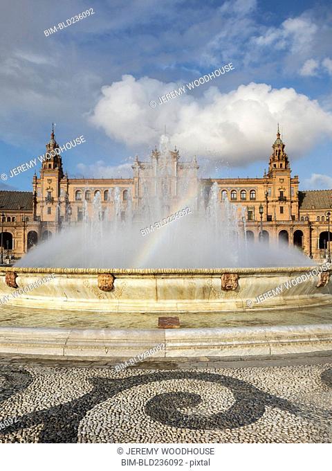 Rainbow in fountain, Seville, Andalucia, Spain