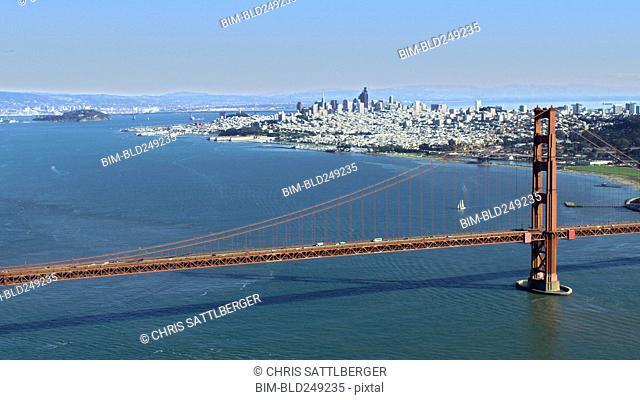 Bridge and urban waterfront, San Francisco, California, United States