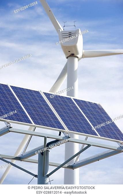 Windmill and photovoltaic panel for energy production, Zaragoza Province, Aragon, Spain