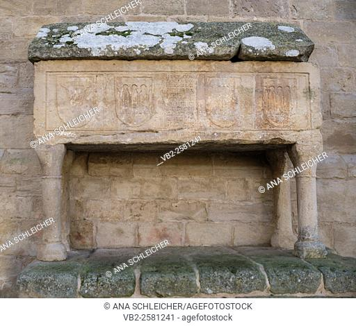 Ancient tomb outside the church of Vallbona de les Monges catalonia
