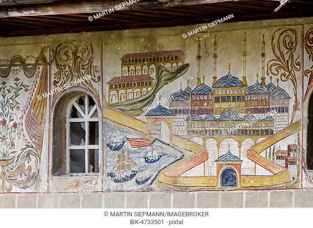 Paintings on the outside facade of the bachelor mosque, Xhamia e Beqarve, Berat, Qark Berat, Albania