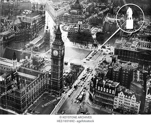 The proposed site for the Churchill statue, Parliament Square, London, 1972