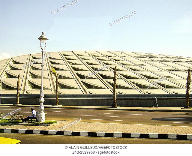 Egypt, Alexandria, Bibliotheca Alexandrina, the facade could be an invocation of the sun