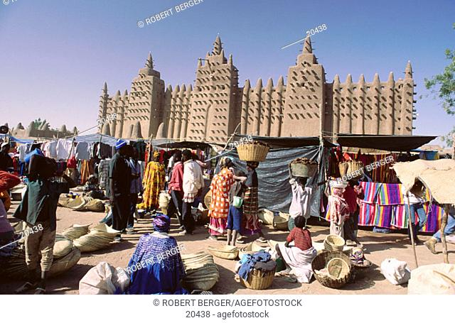 Grand mosque and marketplace Djenne, Mali, West Africa