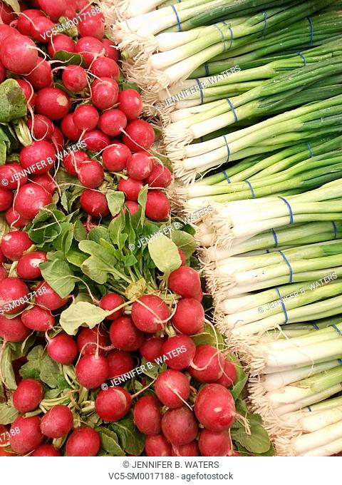 Radishes and scallions at the market