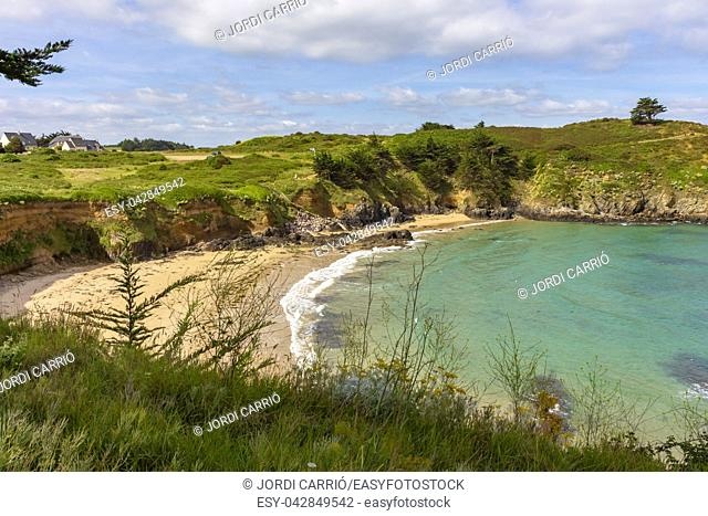 View of a beach along the coastal path between the port of Dahouët to Pléneuf-Val-André on the Côtes-d'Armor in French Brittany