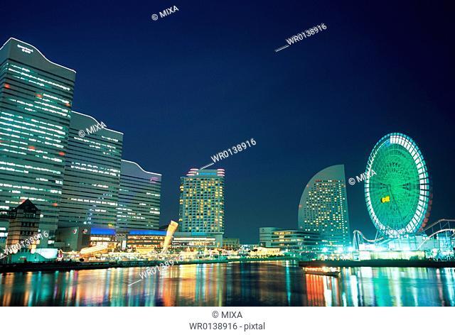 Minato Mirai at Night, Yokohama, Japan