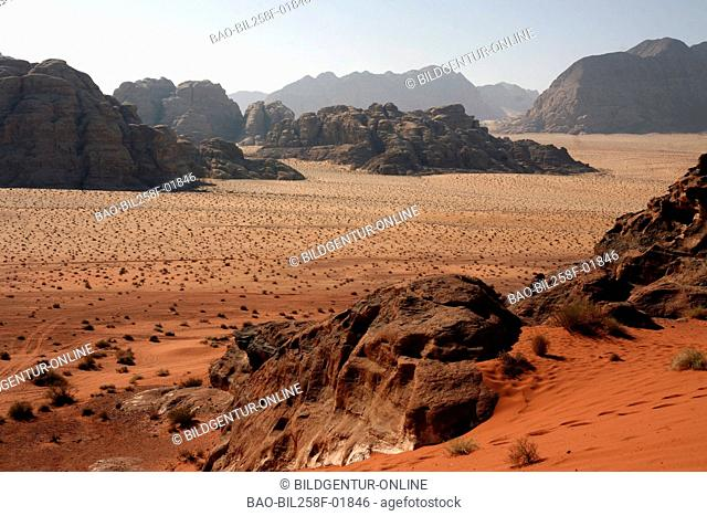 The desert scenery the desert wadi rum in the south of Jordan in Arabia