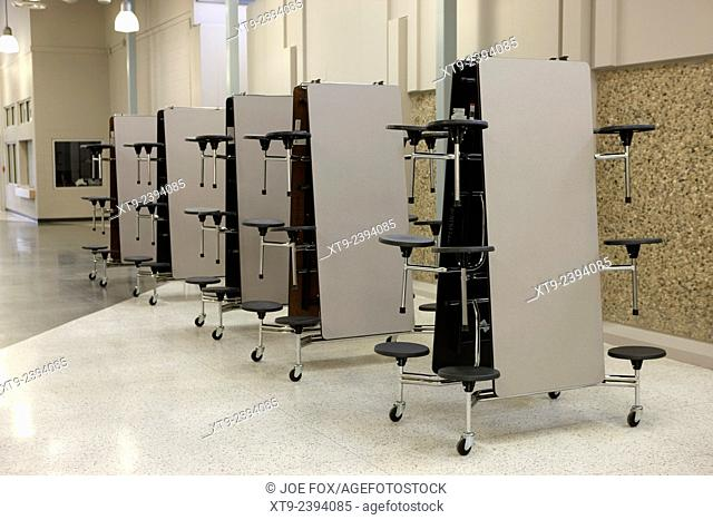 mobile folding table canteen dining units in a high school