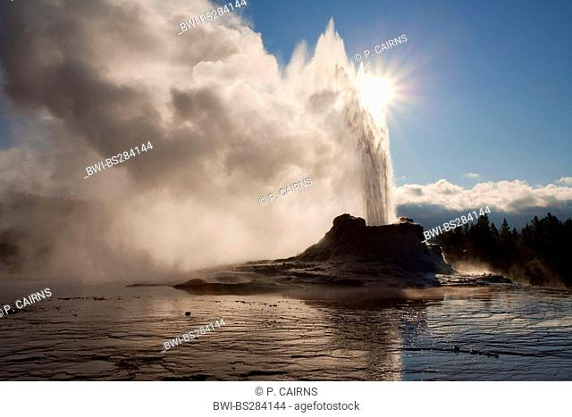 erution of Castle Geyser at Old Faithful geothermal area, USA, Wyoming, Yellowstone National Park
