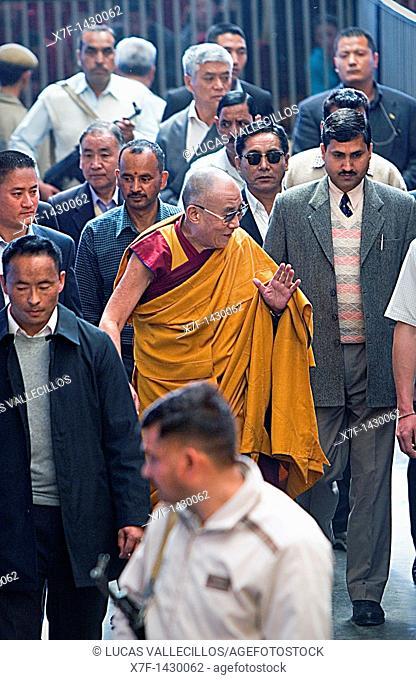 His holiness the Dalai Lama, at Namgyal Monastery,in Tsuglagkhang complex  McLeod Ganj, Dharamsala, Himachal Pradesh state, India, Asia