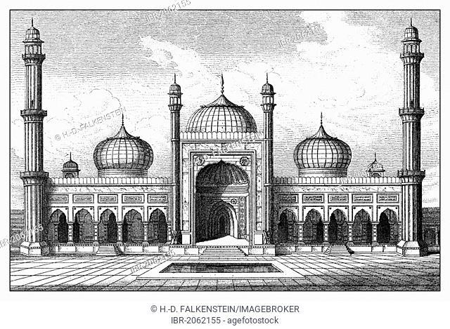 Historical graphic representation, Jama Masjid mosque or Jami Masjid, Friday Mosque, Masjid-i Jahan Numa, Delhi, Shahjahanabad, India, 17th Century