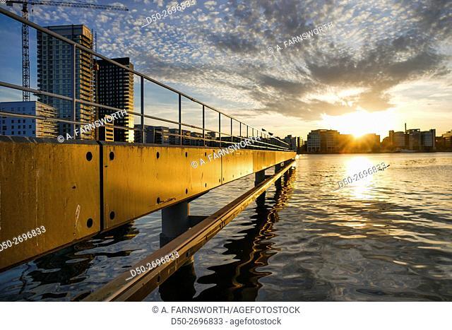 STOCKHOLM, SWEDEN Sunset over Liljeholmen as seen through the shipping lane