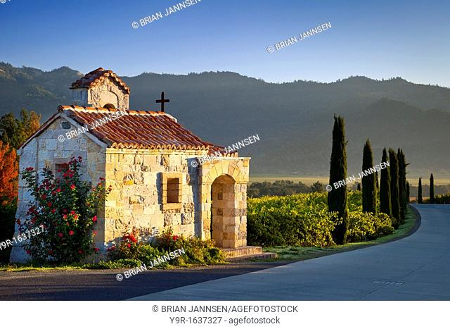 Prayer chapel at Castello di Amorosa vineyards in Napa Valley, California, USA