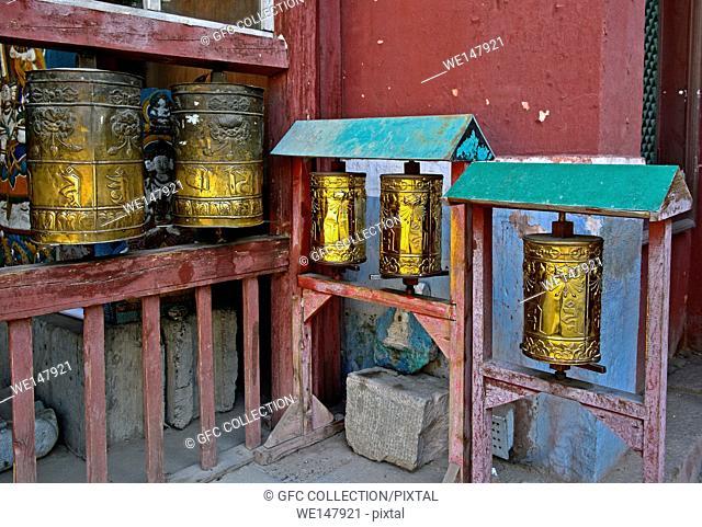 Buddhist prayer mills at the Gandantegchinlen Monastery, Ulaanbaatar, Mongolia