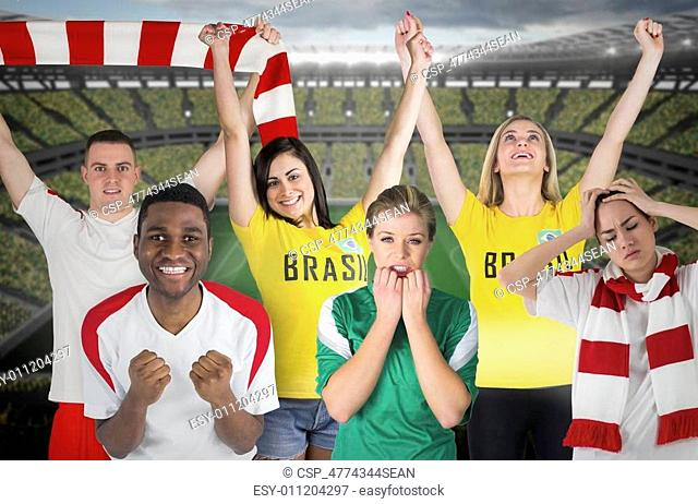 Composite image of various football fans