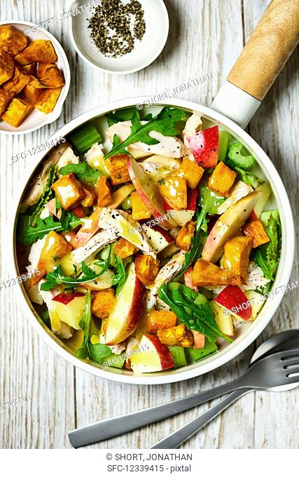 Colourful apple and chicken salad