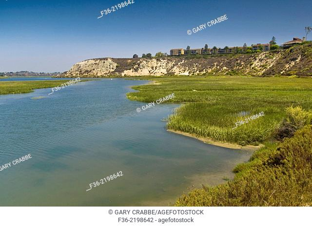 Cliffs and homes above the Upper Newport Bay Ecological Reserve, Newport Beach, Orange County, California