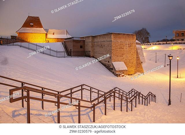 Winter evening at the bastion of city walls in Vilnius, Lithuania