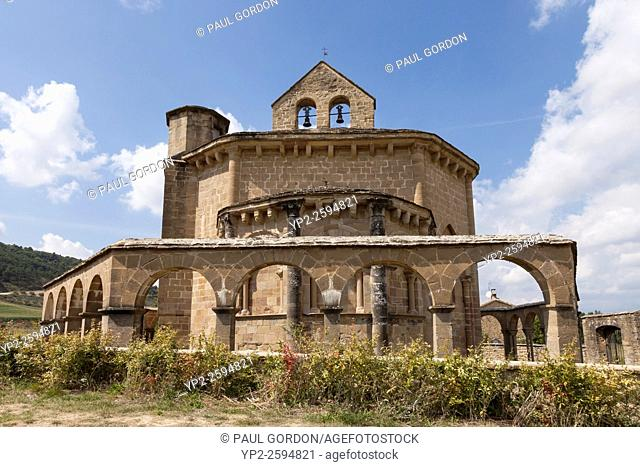 Church of Saint Mary of Eunate - Navarre, Spain. The church in the the Valdizarbe valley near the village of Muruzábal is a hermitage dedicated to the Virgin...