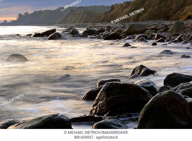 Morning mood on the seashore, Kiel Bay, Baltic Sea, Germany
