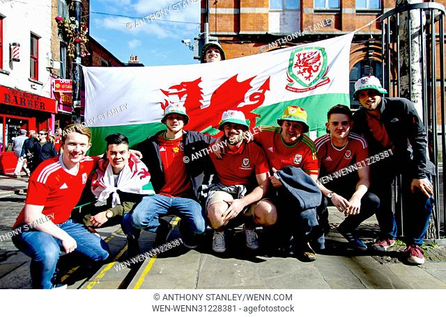 Wales fans in the Temple Bar area of Dublin, Ireland, ahead of their country's FIFA World Cup 2018 qualifier against the Republic of Ireland