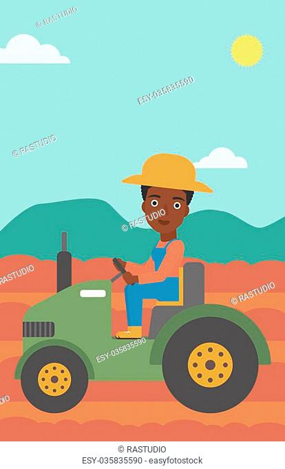An african-american woman driving a tractor on the background of plowed agricultural field vector flat design illustration. Vertical layout