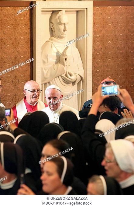 Pope Francis (Jorge Mario Bergoglio) visiting Sarajevo. The Pope meets the Bosnian religious in the Cathedral. Sarajevo, 6th June 2015