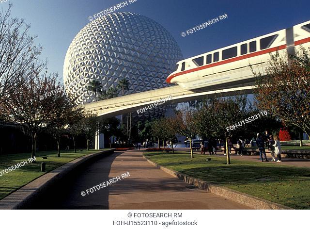 Disney World, monorail, Epcot, Orlando, Florida, FL, Lake Buena Vista, The Monorail passes by Spaceship Earth in Epcot Center at Walt Disney World in Lake Buena...