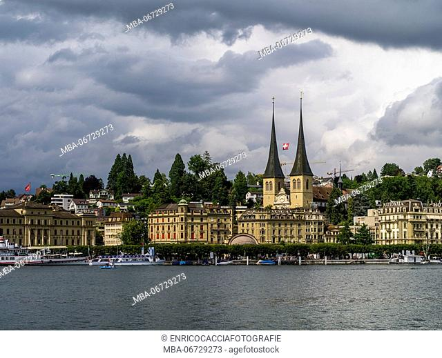 Stormy atmosphere over Lucerne with court church