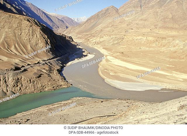 Indus and zanskar meeting in ladakh at jammu kashmir India
